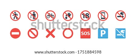 Forbidden Signs vector icons set. Prohibition symbols collection. Not allowed, No Smoking, Don't Litter, Don't Walking, SOS, Not Potable Water, No Entry, Not Mobile Phone Vector Foto d'archivio ©