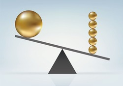 Force balance concept with a small ball that makes the difference by tipping the scales on its side.