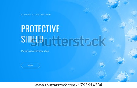 Force field from viruses in abstract polygonal style on a light background. Vector illustration of protection from an infectious agent. Virus shield or airflow with bacteriophages ストックフォト ©