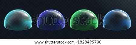 Force field set on transparent background. Defense energy shields or force bubbles, security barrier spheres. Realistic colorful vector illustration, isolated. ストックフォト ©