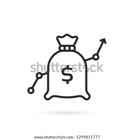 forecast of increase with linear bag. flat stroke minimal moneybag logotype graphic lineart design art isolated on white background. concept of more points collect for benefit and wealth or banking