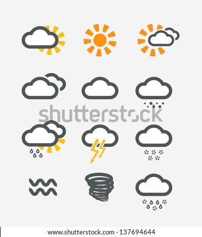Forecast weather icons set