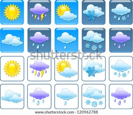 Forecast weather squared icon set