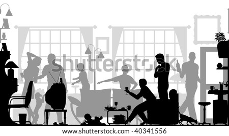 Foreground silhouette of a family gathering in a living room with all elements as separate editable objects