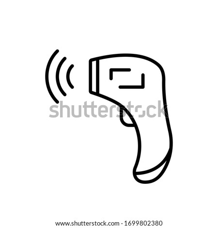 Forehead Infrared Thermometer with signal. Linear icon of digital device for measuring temperature. Black illustration of medical non-contact equipment. Contour isolated vector on white background Stock photo ©