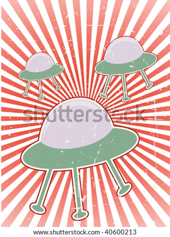 Foreign B-Movie Poster Style flying UFOs - stock vector