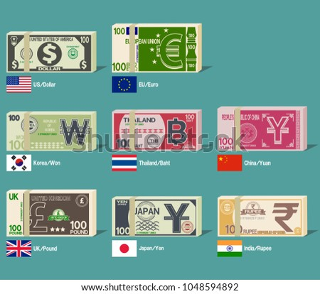 Foreign bundle of banknote on transparent background