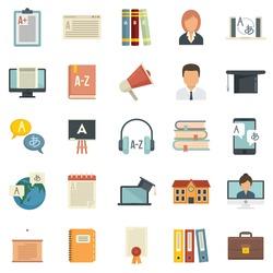 Foreign language teacher icons set. Flat set of foreign language teacher vector icons isolated on white background