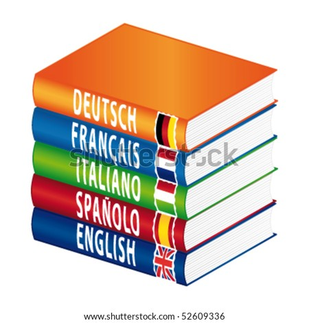 Foreign languages books. Vector illustration.