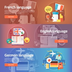 Foreign languages learning banner set. Design illustration for French, English and German language. Colorful vector flat concepts horizontal layout.