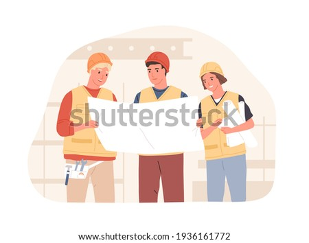 Foreman and workers in hard hats at construction site. Builders discussing building project or drawing of real estate. Colored flat vector illustration of constructors isolated on white background Foto stock ©