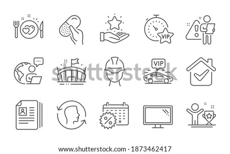 Foreman, Cv documents and Vip transfer line icons set. Monitor, Arena and Capsule pill signs. Face id, Loyalty program and Winner cup symbols. Line icons set. Vector ストックフォト ©