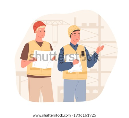 Foreman showing and explaining building process to inspector. Supervisor in hard hat at construction site. Colored flat vector illustration of workers in helmets isolated on white background Foto stock ©