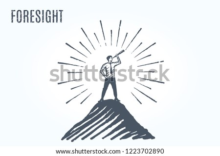 Foresight - Man stands confidently on top of a mountain and looks in a telescope with hope.