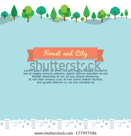forest and city vector