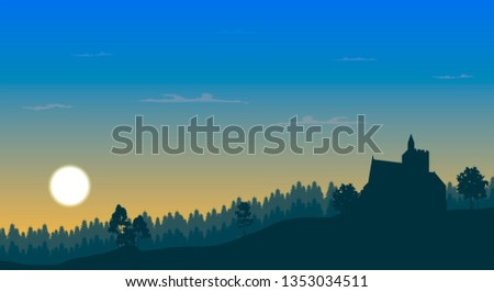forest and medieval castle