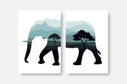 Forest and mountain panorama in elephant silhouette wall art prints