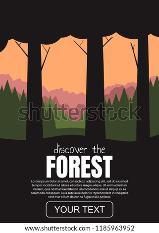 forest and mountains vector
