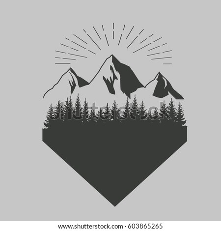forest and mountains vintage