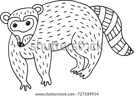 forest animal raccoon doodle cartoon simple illustration kids drawing style coloring page