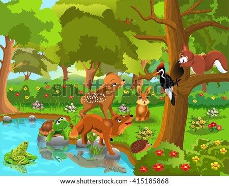 forest animals and friendship #415185868
