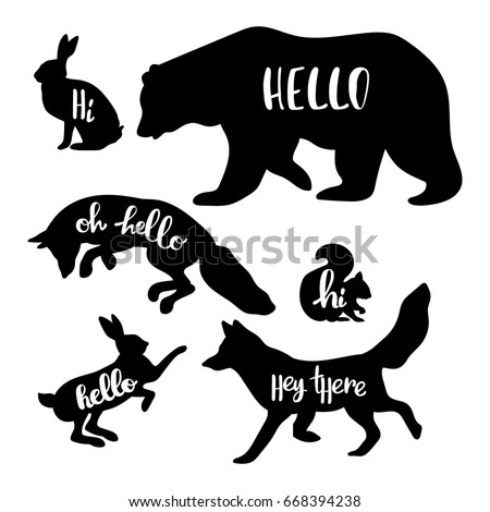 Forest animals: bear, wolf, fox, rabbit, squirrel. Hello. Isolated vector objects on white background.