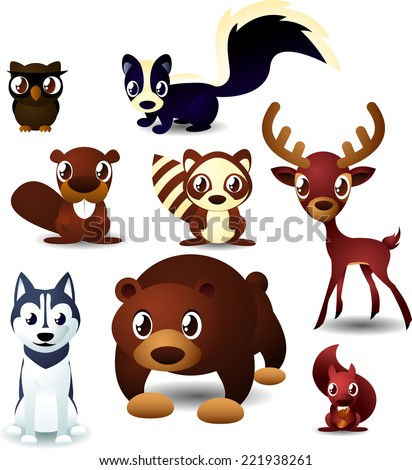 Forest animals cartoon set.Eight 8 different forest animals like owl squirrel beaver reindeer caribou skunk bear deer Siberian husky vector illustration