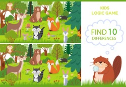 Forest animals find differences game. Educational kids games characters, woodland animal and wild forests vector cartoon illustration