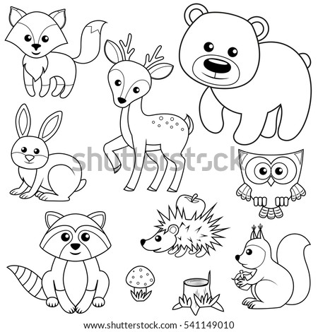 Forest animals. Fox, bear, raccon, hare, deer, owl, hedgehog, squirrel, agaric and tree stump. Black and white vector illustration for coloring book