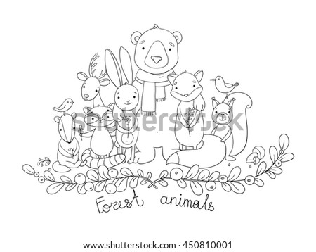 forest animals hand drawing