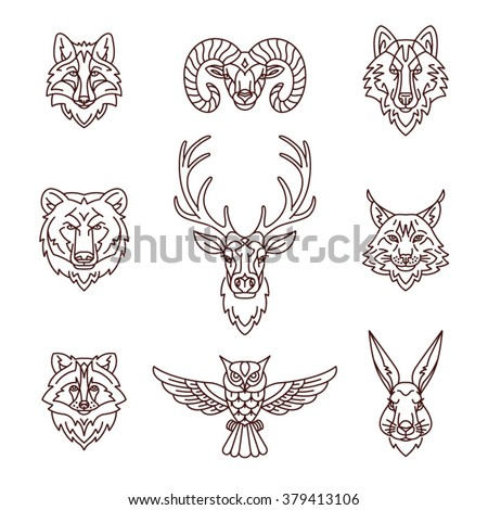 forest animals icons in trendy