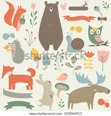 forest animals in vector set
