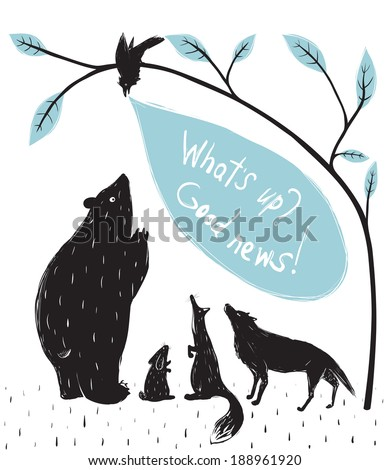Forest Animals News Meeting. Bear fox wolf rabbit crow illustration in black. Vector EPS8.