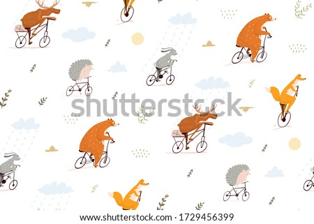 forest animals riding bicycles