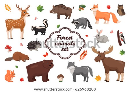 forest animals set in flat