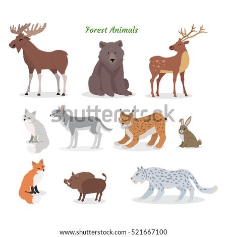 forest animals set moose  boar