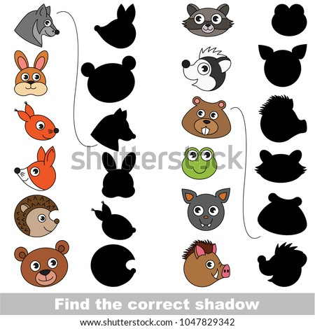 Forest animals set to find the correct shadow, the matching educational kid game to compare and connect objects and their true shadows, simple gaming level for preschool kids.