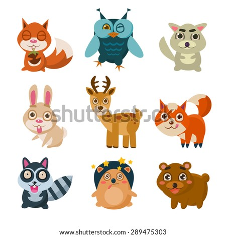 Forest animals vector illustration with different emotions