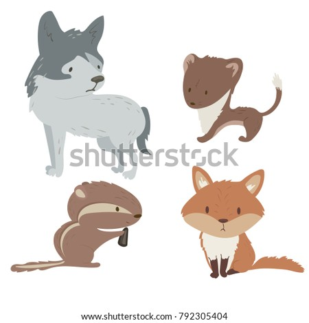 forest animals vector set with
