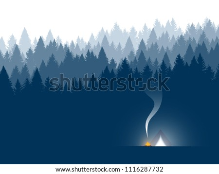 Forest background, coniferous trees. Vector illustration. Landscape with tent. Night camping.
