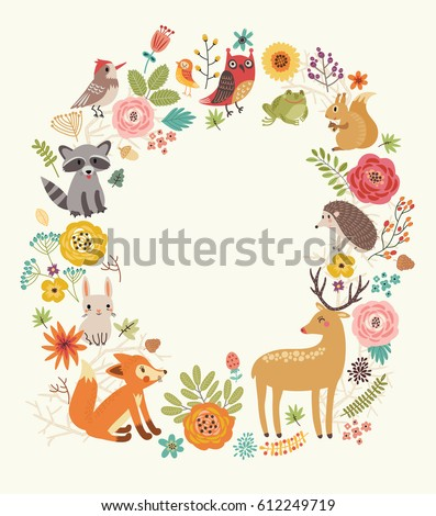 Forest background with animals and flowers.