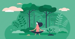 Forest bathing vector illustration. Nature therapy flat tiny persons concept. Recreational ecotherapy process to gain strength, calm, harmony and balance in daily lifestyle. Physical health treatment.