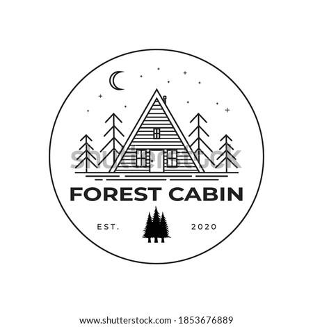Forest cabin line art logo vector illustration design, outdoor minimalist logo design Photo stock ©
