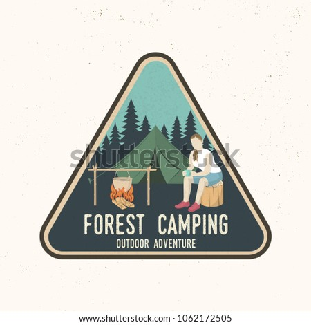 Forest Camping extreme adventure . Vector illustration. Concept for shirt or print, stamp, travel badge or tee. Vintage typography design with camper tent, pot on the fire and forest silhouette.
