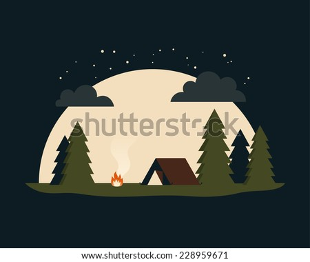 forest camping in the night