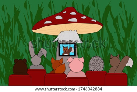 Forest cinema. Forest animals, a hare, a hedgehog, a squirrel, a fox, a bear, a wild boar are watching the news on a mushroom mushroom on TV. Funny illustration watching tv and news