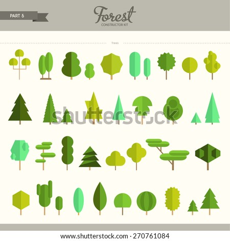 Forest constructor kit - part 5, really big set of different trees. Beautiful and trendy collection of flat elements, very useful to create backgrounds, patterns, game design