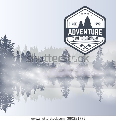 forest design template with fog