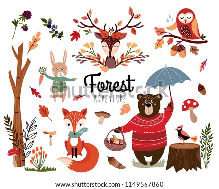Forest elements collection with autumnal background, hand drawn seasonal items, isolated on white