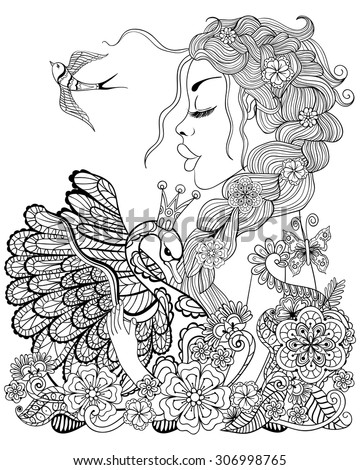 Forest Fairy With Wings In Flower Magic Girl For Adult